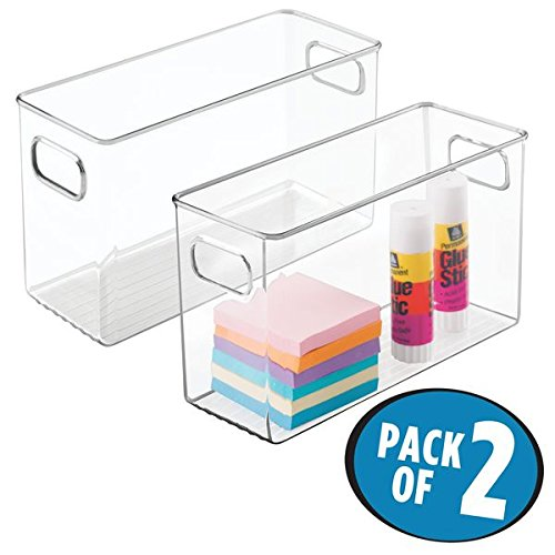 """mDesign Office Supplies Desk Organizer Bin for Pens, Pencils, Markers, Highlighters, Tape - Pack of 2, 10"""" x 4"""" x 6"""", Clear"""