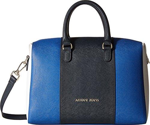 Armani Jeans Women's Color Block Boston Bag With Detachable Shoulder Strap Blue Royal Satchel Cw203 S6 18