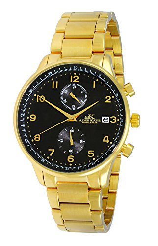 Adee Kaye Men's Japanese-Quartz Fitness Watch with Stainless-Steel Strap, Gold, 20 (Model: AK7501-MGBK)