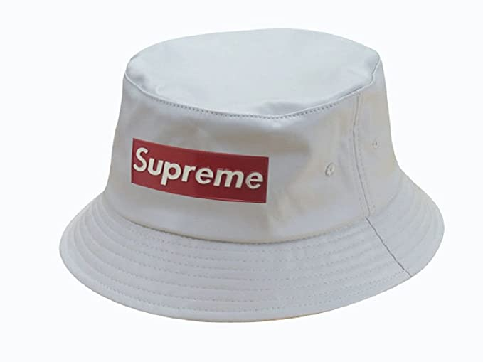 bel design uomo prezzo di fabbrica nuova 2017 cappello bianco Supreme pescatore: Amazon.it ...