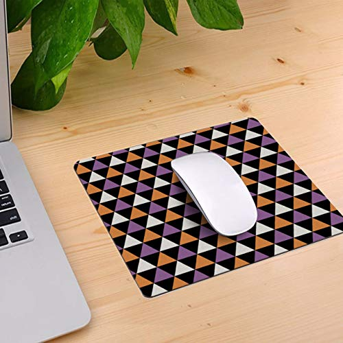 Computer Mouse Pad Custom, Hallowen Style Geometric Pattern Mouse Mat Non-Slip Rubber Base and Jersey Surface Gaming Mouse Pad for Laptop/Desktop/Office/Home 10 x 9 inch -