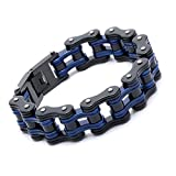 FATEMOONS Mens Bicycle Bracelet Biker Link Chain Stainless Steel Wristband Motorcycle Bangle 8.5 inch (Blue-Black)