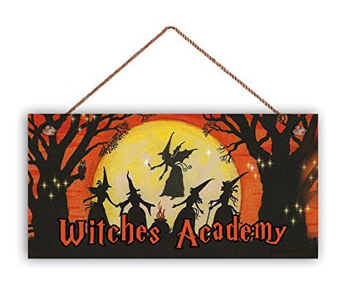 Witches Academy Sign Rustic Halloween Sign 5 x 10 Holiday Door Sign Spooky Sign Magic Spell Halloween Night Funny Quote Plaque Home Craft Sign for Women -