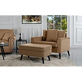 Mid Century Modern Living Room Large Accent Chair With Footrest/Storage  Ottoman (Brown)
