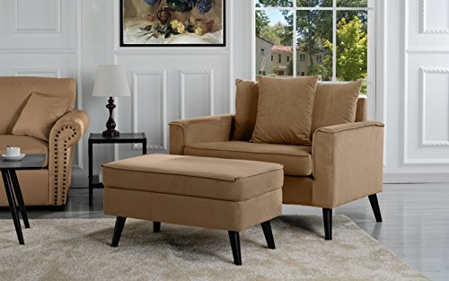 Accent Ottoman Brown (Mid-Century Modern Living Room Large Accent Chair with Footrest/Storage Ottoman (Brown))
