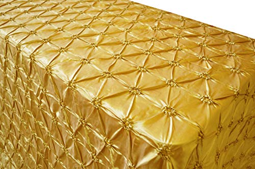 - Wedding Linens Inc. 90 Inch x 156 Inch Rectangular Pinchwheel Taffeta Tablecloths Table Cover Linens for Restaurant Kitchen Dining Wedding Party Banquet Events - Gold