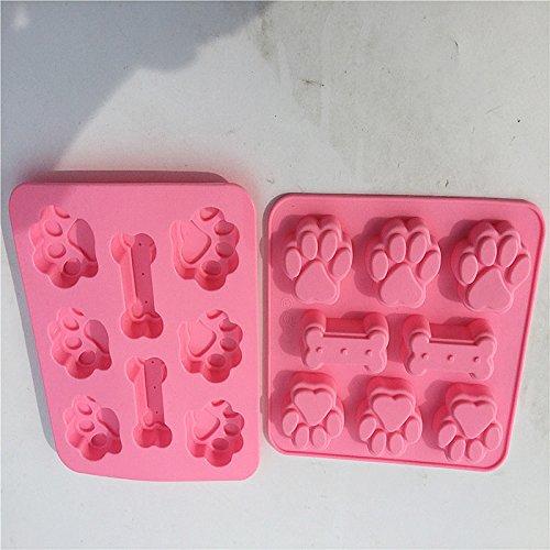 Fablcrew 1 St/ück Kuchenform Silikonform Hund Pfote und Knochen Muster Schokoladenform Backwerkzeuge K/östlicher Nachtisch 17.4 15.6 1.5CM