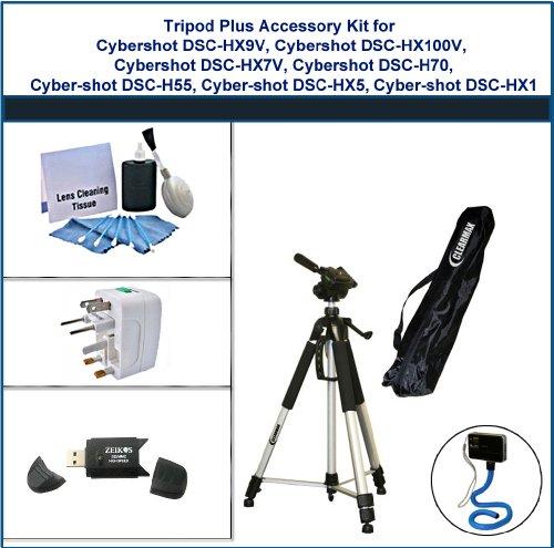 Tripod Plus Accessory Kit for Sony Cybershot DSC-HX9V, Sony Cybershot DSC-HX100V, Sony Cybershot DSC-HX7V, Sony Cybershot DSC-H70, Sony Cybershot DSC-H55, Sony Cybershot DSC-HX5, Sony Cybershot DSC-HX1 includes: Flexible Monopod, Universal Adapter, 5PC Le by ClearMax