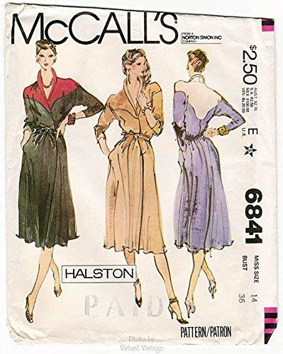 70s Wrap - McCall's 6841 Halston Vintage 1970s Size 16 Bust 38