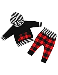 2pcs Baby Boy Girl Black Hoodie with Check Pocket Tops Plaid Pants Outfit