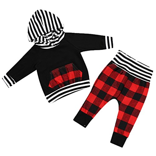 2pcs Baby Boy Girl Black Hoodie with Check Pocket Tops Plaid Pants Outfit (100(18-24 months), Dark Red Black White)