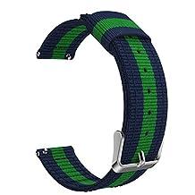 Universal 20mm Quick Release Watch Band, MoKo Fine Woven Nylon Adjustable Replacement Strap for Samsung Gear S2 Classic/Motorola Moto 360 2nd Gen Men's 42mm/Ticwatch 2nd & Huawei Watch 2, Blue & Green