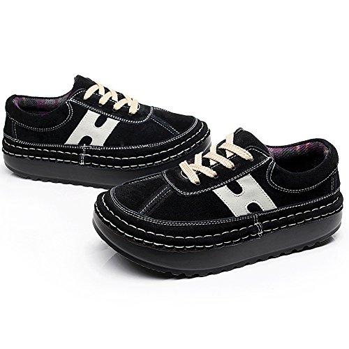 Shenn Mujer Plataforma Casual Comodidad Ante Entrenadores Zapatillas Zapatos 2602 Negro