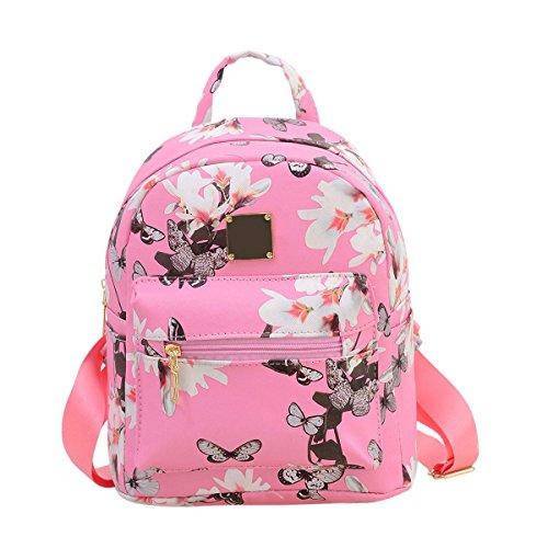XENO-Women Floral Backpack Travel PU Leather Handbag Rucksack Shoulder School Bag New(pink)