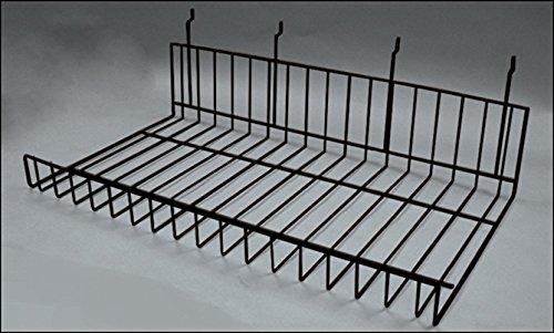 Count of 4 New Black Finish Slat Flat Shelf 21.5''W x 5''H x 12.25''D by Slat Flat Shelf