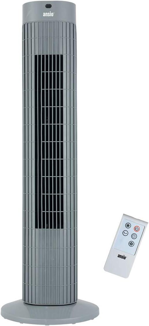 Batterien NICHT im enthalten Grau Oszillierender Turmventilator mit Fernsteuerung S/äulenventilator 75 CM//30 zoll 3-stufigem Windmodus mit 3 Drehzahlen und langem Kabel 2 Jahre Garantie 1,75m