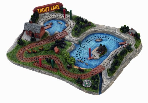 Outside Inside Trout Lake Cribbage Board (11 X 8 X 2.25-Inch)