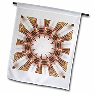 Houk Digital Abstraction Art - Fancy Kaleidoscopes - Misam Fox Mandala - 18 x 27 inch Garden Flag (fl_42364_2)