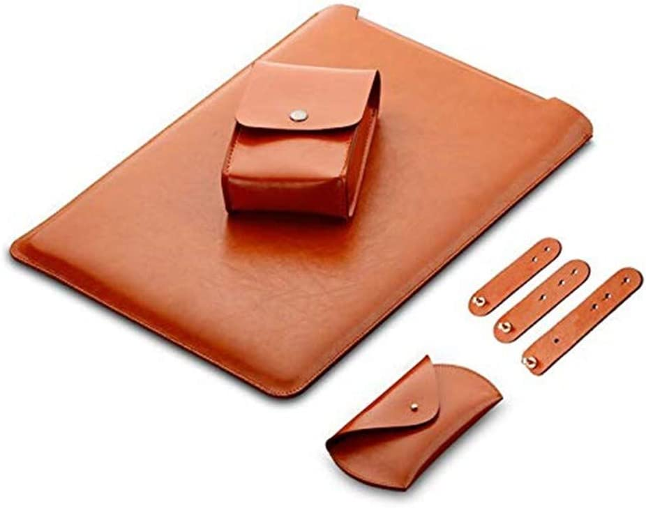 LAPOND 4 in 1 Bundle 13 Inch Laptop Sleeve Case for MacBook Air and MacBook Pro 13.3 Inches (4 in 1 Bundle, Light Brown)