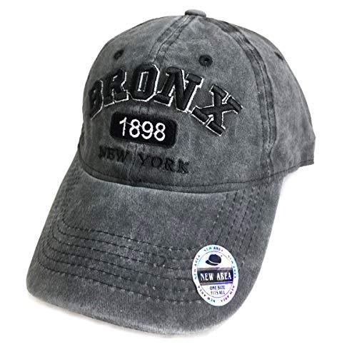 Baseball Hats, Adjustable Washed Twill Cotton Denim New York Bronx Caps Vintage Dad Hat Unisex (Bronx/Washed Black)
