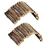 PIVBY Hamster Bridge Wooden Mouse Ladder Natural Rat Chew Rodents Toys for Chinchillas Guinea Pigs Hamster Mouse Rat Small Animal (2Pack)