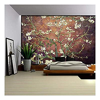 Beautiful Technique, Copper with Rich Brown Vignette Almond Blossom by Vincent Van Gogh Wall Mural, Classic Design