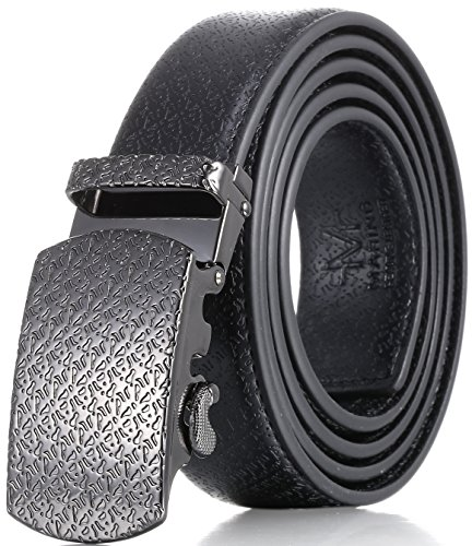 Soft Leather Buckle Belt (Marino Men's Ultra Soft Leather Ratchet Dress Belt with Automatic Buckle, Enclosed in an Elegant Gift Box - Gunblack Silver Leather Buckle W/ Black Leather - Custom XL: Up to)