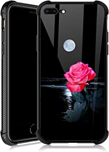 iPhone 8 Plus Case,Moonlight Red Rose iPhone 7 Plus Cases for Girls,Tempered Glass Back Cover Anti Scratch Reinforced Corners Soft TPU Bumper Shockproof Case for iPhone 7/8 Plus Ocean Wave Moon