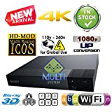 SONY BDP-S6700 con escala 4K - 2D/3D - Wi-Fi - Reproductor de Blu-ray Disc Multi System Region Code Free Blu Ray Disc DVD Player - PAL/NTSC - USB - 100-240V 50/60Hz for World-Wide Use & 6 Feet HDMI Cable