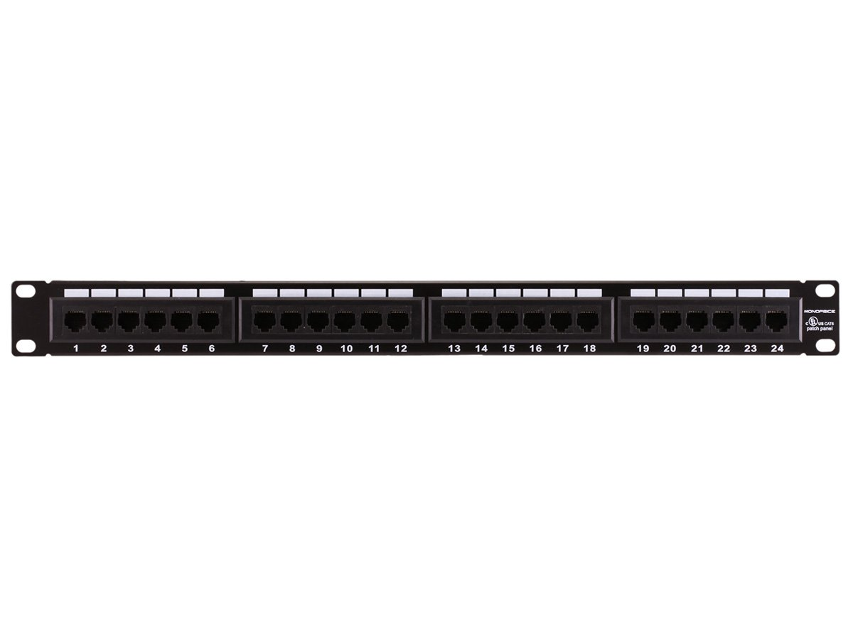 Amazon.com: Monoprice 107253 110 Type 24-Port Cat6 Patch Panel (568A/B  Compatible): Home Audio & Theater