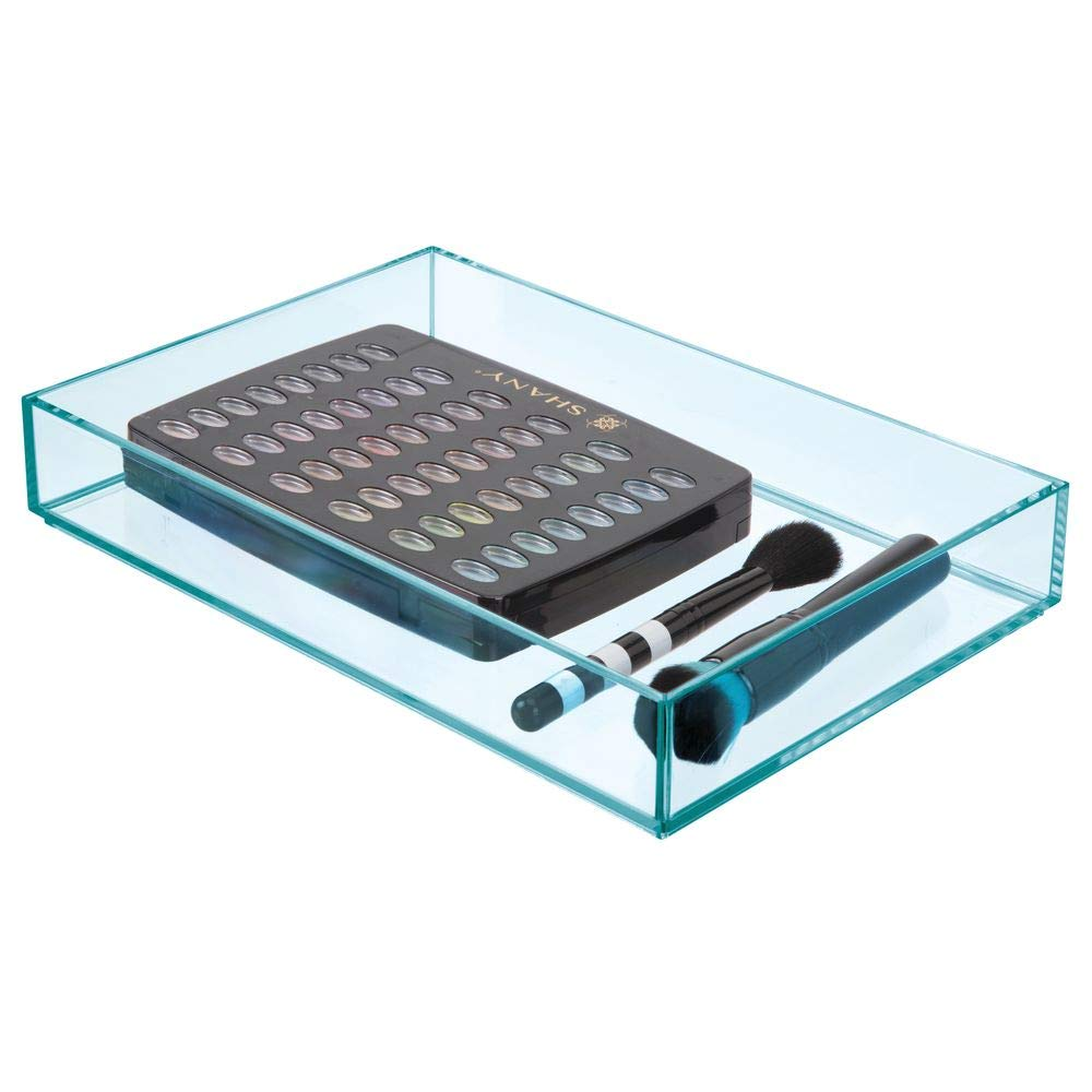 mDesign Cajas de pl/ástico para organizar maquillaje Caja de maquillaje para labiales antiojeras y m/ás cosm/éticos Organizador de cosm/éticos apilable para ba/ño o tocador azul oc/éano