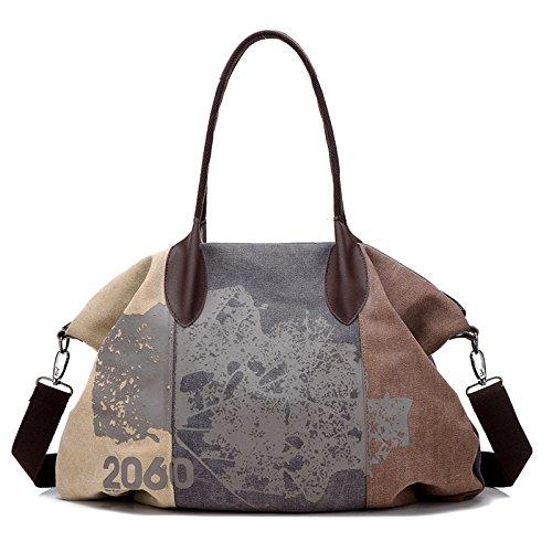 Lkklily-retro Color Canvas Duffel Bag Crossbody Shoulder Bag Fashion Print, Purple And Brown Caffeine