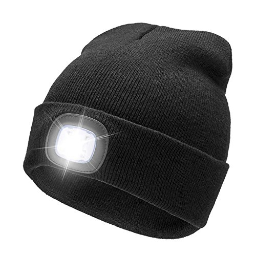 Ultra Bright LED Unisex Lighted Beanie Cap/Winter Warm hat (USB charging) (Black)