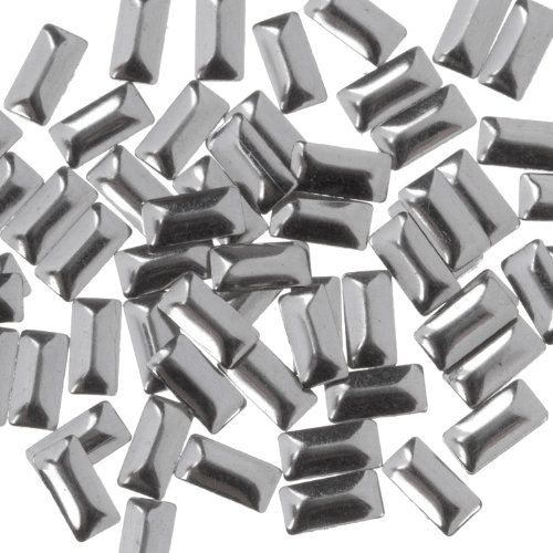 Zink Color Nail Art Silver Rectangle Metal Stud Large 50Pc. Embellishment ()