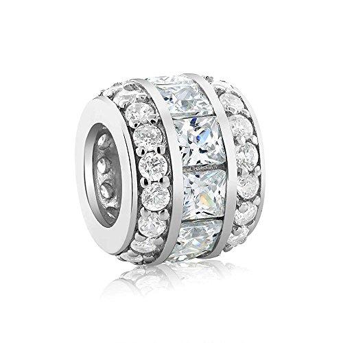 Sterling Silver Cubic Zirconia 12X9MM Bead Charm Compatible W/ Pandora (Pandora Compatible Bead Bracelet)