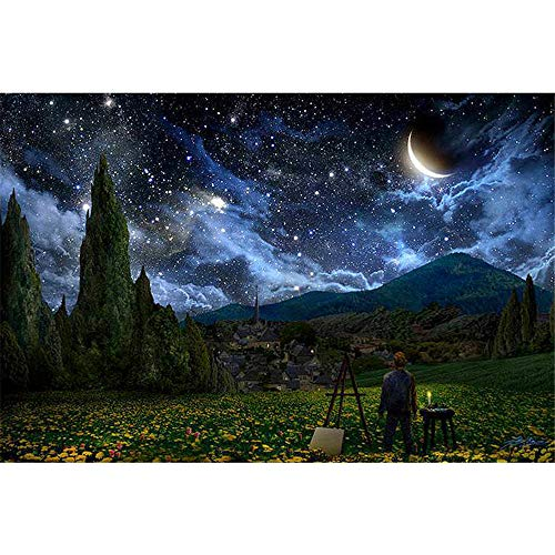 (DIY Oil Painting Paint by Number Kit for Adult Kids - Sparkling Star Moon,16X20 Inch)