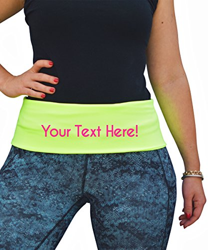 PakRat Running Belt Waist Pack – Runners Fold Over Belt, Fanny Pack for Jogging, Exercise or Travel, Holds Phone, Money, Keys – Now Customizable (CUSTOM Neon Yellow, Large)