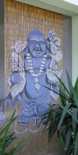 Bambusvorhang Turvorhang Dekovorhang Motiv Glucksbuddha Amazon De