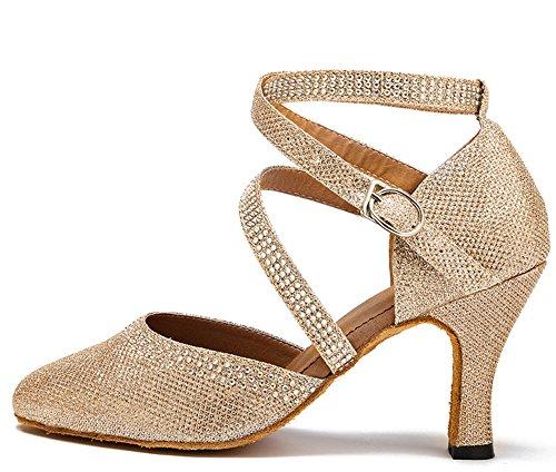 Honeystore Womens Glitter Chiuso Toe Mid Tacco Tango Salsa Ballroom Party Wedding Ballo Latino Champagne