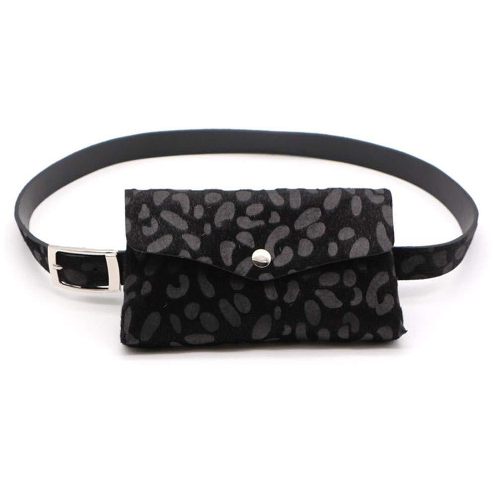 FeliciaWen Bolsa de Cintura para Mujer Cinturón Bolsas Leopardo de Gamuza de Cuero Paquete de Fanny Cinturón extraíble Ajustable con Bolsa de Cintura Mini Viaje Bolso del teléfono Celular