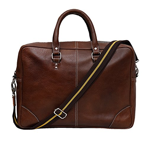 Rivet pure leather 15 inch laptop messenger bag (brown)