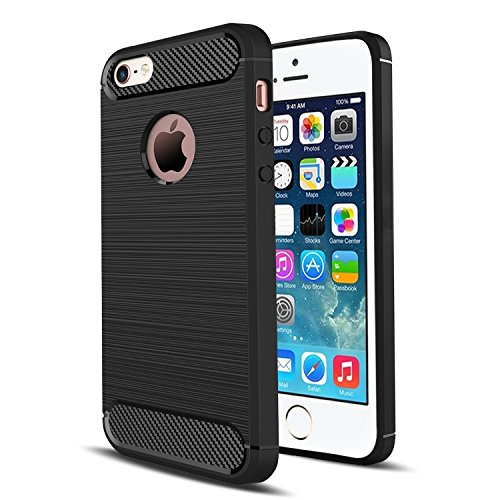 iPhone 5S Case,iPhone 5 Case,iPhone SE Case,iPhone 5SE Case,AnoKe Slim Fit Carbon Fiber Shock Absorption Soft TPU Anti-fingerprint Protective Phone Cases Cover For Apple iPhone 5S HWLS Black