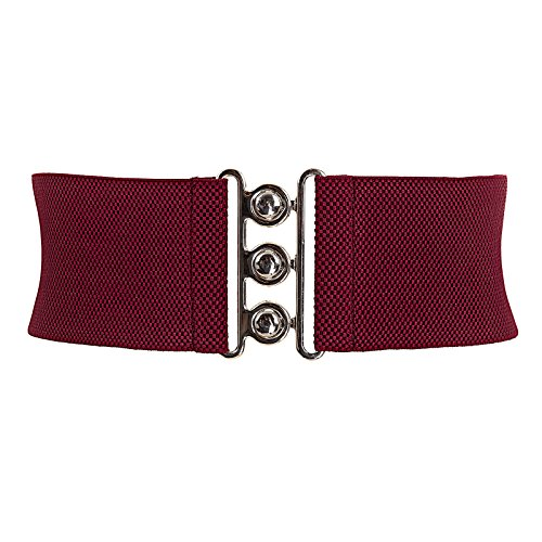 Vintage Wide Elastic Stretch Waist Clasp Belt Waistband Wine Red S CL8962 - Belt Wine