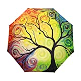JSTEL Windproof Umbrella Compact Auto Open & Close - Colorful Tree Pattern Easy Carrying Travel Stylish Lightweight Design for Women & Men