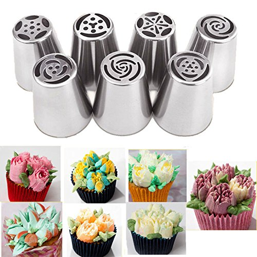 New Russian Tulip Flower Stainless Steel Icing Piping Nozzles Cake DIY Tools 7pc (Mini Pirate Skull Figurine)