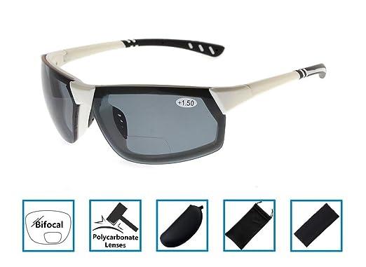 7ec5c256da Bifocal Reading Sunglasses Half-Rimless Frame Sun Readers Tinted Glasses  Mens Womens White Frame Grey Lens +3.0  Amazon.co.uk  Clothing