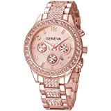 Fanmis Luxury Iced Out Pave Floating Crystal Quartz Calendar Rose Gold Stainless Steel Watch