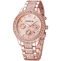 Luxury Iced Out Pave Floating Crystal Quartz Calendar Rose Gold Stainless Steel Watch