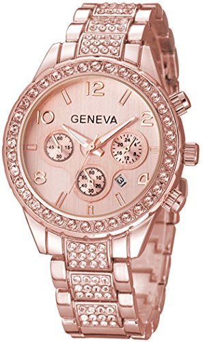 Unisex Luxury Iced Out Pave Floating Crystal Diamonds Calendar Quartz Watch with Stainless Steel Link Bracelet (A Rose)