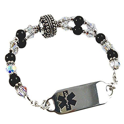 Medical Id Onyx Bracelet - Women's Medical Alert Manhhattan Beaded Bracelet, FREE Engraving